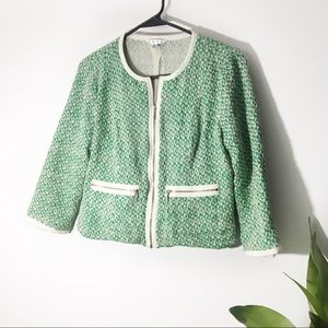 CAbi   Green 3/4 Sleeve Zip Up Blazer Size 6
